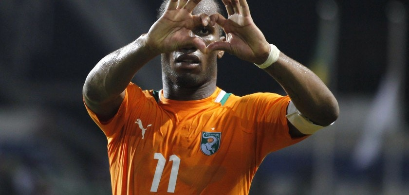Ivory Coast's Drogba celebrates after they won their African Nations Cup semi-final soccer match against Mali in Libreville