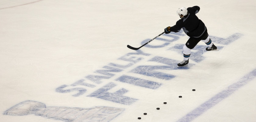 PITTSBURGH, PA - MAY 29: Brenden Dillon #4 of the San Jose Sharks takes shots during the NHL Stanley Cup Final Media Day at Consol Energy Center on May 29, 2016 in Pittsburgh, Pennsylvania. (Photo by Justin K. Aller/Getty Images)