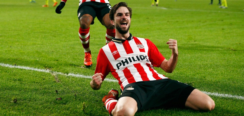 EINDHOVEN, NETHERLANDS - DECEMBER 08:  Davy Propper of PSV celebrates scoring his teams second goal of the game during the group B UEFA Champions League match between PSV Eindhoven and CSKA Moscow held at Philips Stadium, on December 8, 2015 in Eindhoven, Netherlands.  (Photo by Dean Mouhtaropoulos/Getty Images)