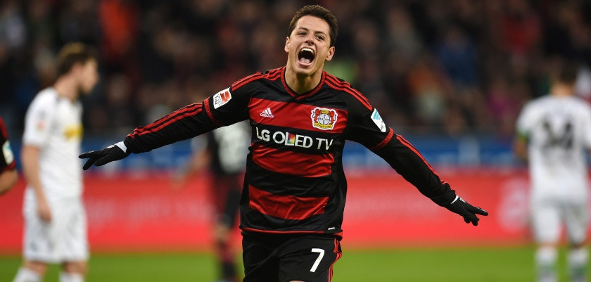 Leverkusen's Mexican striker Javier Hernandez celebrates after scoring during the German first division Bundesliga football match Bayer 04 Leverkusen vs Borussia Moenchengladbach in Leverkusen, western Germany, on December 12, 2015. 