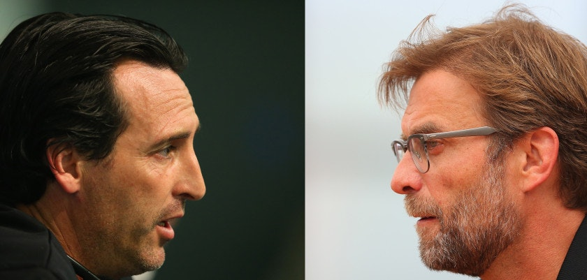 FILE PHOTO - Image Numbers 493429690 (L) and 531205008) In this composite image a comparison has been made between Head coach Unay Emeri of Sevilla FC (L) and Liverpool manager Jurgen Klopp. Liverpool FC and Sevilla FC meet in the 2016 Europa League Cup Final at the St Jakob Park Stadium on May 18, 2016 in Basel,Switzerland.  ***LEFT IMAGE*** MANCHESTER, ENGLAND - OCTOBER 20: Unai Emery the coach of Sevilla FC faces the media during a press conference at the Etihad Stadium on October 20, 2015 in Manchester, United Kingdom. (Photo by Alex Livesey/Getty Images)  ***RIGHT IMAGE*** LIVERPOOL, ENGLAND - MAY 13: Jurgen Klopp the manager of Liverpool faces the media during the Liverpool UEFA Europa League Cup Final Media Day at Melwood Training Ground on May 13, 2016 in Liverpool, England. (Photo by Alex Livesey/Getty Images)