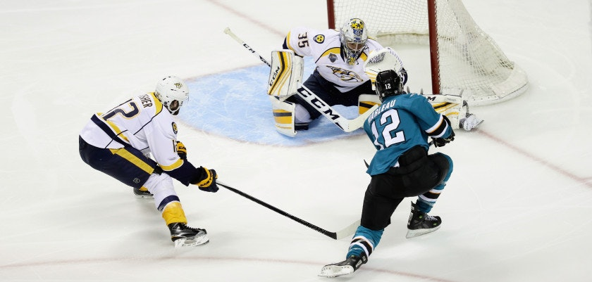 SAN JOSE, CA - MAY 12:  Patrick Marleau #12 of the San Jose Sharks scores a goal on Pekka Rinne #35 of the Nashville Predators in the third period of Game Seven of the Western Conference Second Round during the 2016 NHL Stanley Cup Playoffs at SAP Center on May 12, 2016 in San Jose, California.  (Photo by Ezra Shaw/Getty Images)