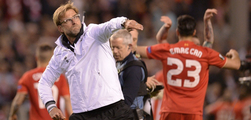Liverpool's German manager Jurgen Klopp celebrates at the final whistle after a 3-0 victory during the UEFA Europa League semi-final second leg football match between Liverpool and Villarreal CF at Anfield in Liverpool, northwest England on May 5, 2016. / AFP / OLI SCARFF        (Photo credit should read OLI SCARFF/AFP/Getty Images)