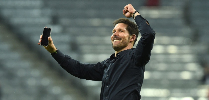 TOPSHOT - Atletico Madrid's Argentinian coach Diego Simeone celebrates qualifying for the final after the UEFA Champions League semi-final, second-leg football match between FC Bayern Munich and Atletico Madrid in Munich, southern Germany, on May 3, 2016. / AFP / Christof Stache        (Photo credit should read CHRISTOF STACHE/AFP/Getty Images)