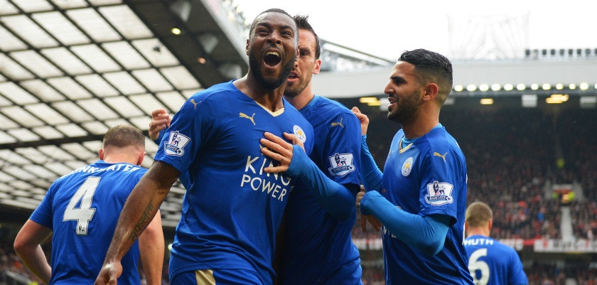 MANCHESTER, ENGLAND - MAY 01:  Wes Morgan of Leicester City celebrates scoring his team's opening goal with team mates during the Barclays Premier League match between Manchester United and Leicester City at Old Trafford on May 1, 2016 in Manchester, England.  (Photo by Michael Regan/Getty Images)