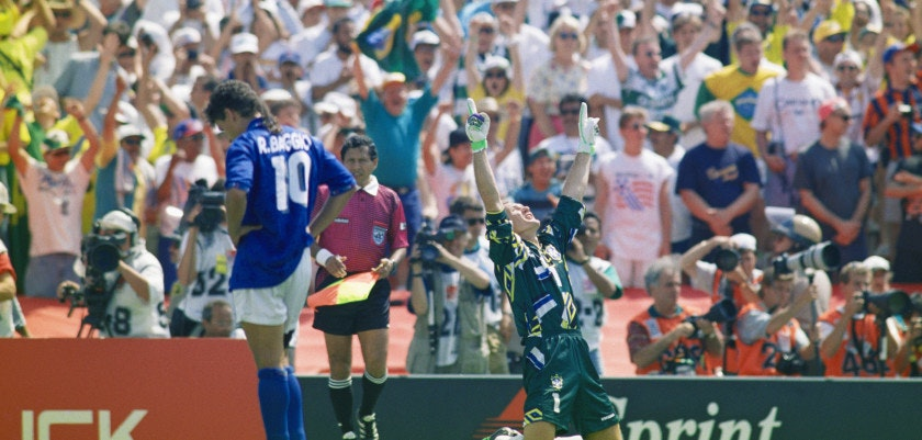 PASADENA, CA - JULY 17:  Brazil goalkeeper Taffarel celebrates after Roberto Baggio of Italy had missed his penalty to decide the FIFA World Cup Final 1994 between Brazil and Italy at the Rose Bowl on July 17, 1994 in Pasadena, California, United Sates. Brazil beat Italy 3-2 in a penalty shootout to win the World Cup. Photo by Shaun Botterill/Getty Images)