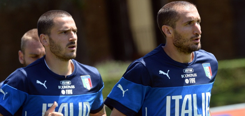FLORENCE, ITALY - MAY 20:  Leonardo Bonucci (L) and Giorgio Chiellini of Italy during a training session at Coverciano on May 20, 2014 in Florence, Italy.  (Photo by Claudio Villa/Getty Images)