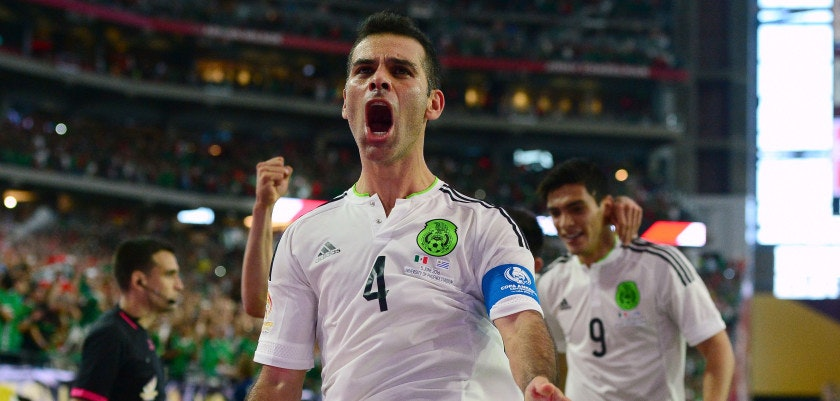 GLENDALE, AZ - JUNE 05:  Rafael Marquez #4 of Mexico celebrates after scoring a goal in the second half during the 2016 Copa America Centenario Group C match against Uruguay at University of Phoenix Stadium on June 5, 2016 in Glendale, Arizona.  (Photo by Jennifer Stewart/Getty Images)