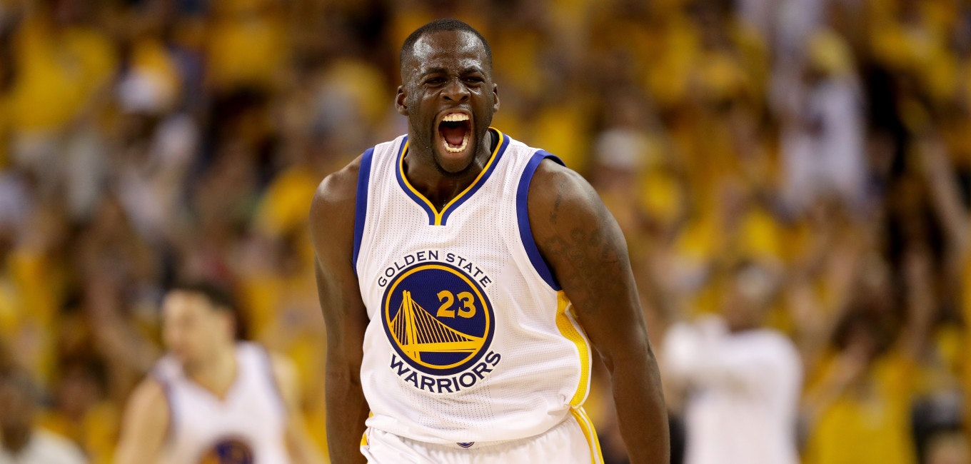 OAKLAND, CA - JUNE 05:  Draymond Green #23 of the Golden State Warriors reacts in the second quarter of Game 2 of the 2016 NBA Finals against the Cleveland Cavaliers at ORACLE Arena on June 5, 2016 in Oakland, California. NOTE TO USER: User expressly acknowledges and agrees that, by downloading and or using this photograph, User is consenting to the terms and conditions of the Getty Images License Agreement.  (Photo by Ezra Shaw/Getty Images)