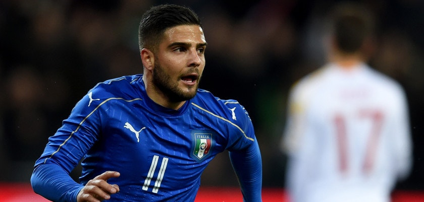 UDINE, ITALY - MARCH 24:  Lorenzo Insigne of Italy (C) celebrates after scoring the opening goal during the international friendly match between Italy and Spain at Stadio Friuli on March 24, 2016 in Udine, Italy.  (Photo by Claudio Villa/Getty Images)