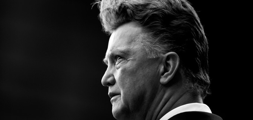 MANCHESTER, ENGLAND - NOVEMBER 08:  (EDITORS NOTE: THIS IMAGE HAS BEEN CONVERTED TO BLACK & WHITE) Manchester United Manager Louis van Gaal looks on prior to the Barclays Premier League match between Manchester United and Crystal Palace at Old Trafford on November 8, 2014 in Manchester, England.  (Photo by Richard Heathcote/Getty Images)