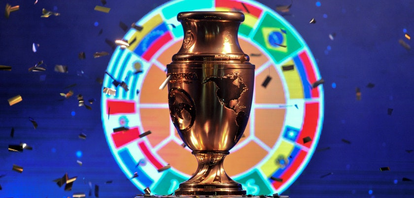 The Copa America Centenario trophy is displayed at a ceremony in Bogota, Colombia, on April 28, 2016.  / AFP / GUILLERMO LEGARIA        (Photo credit should read GUILLERMO LEGARIA/AFP/Getty Images)