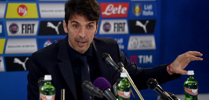 UDINE, ITALY - MARCH 23:  Gianluigi Buffon of Italy speaks to the media during a press conference at at Stadio Friuli on March 23, 2016 in Udine, Italy.  (Photo by Claudio Villa/Getty Images)