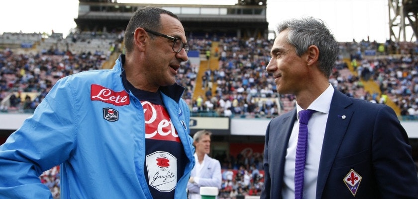 Napoli's Italian coach Maurizio Sarri (L) greets Fiorentina's Portuguese coach Paulo Sousa before the Italian Serie A football match SSC Napoli vs ACF Fiorentina on October 18, 2015 at the San Paolo stadium in Naples. AFP PHOTO / CARLO HERMANN        (Photo credit should read CARLO HERMANN/AFP/Getty Images)