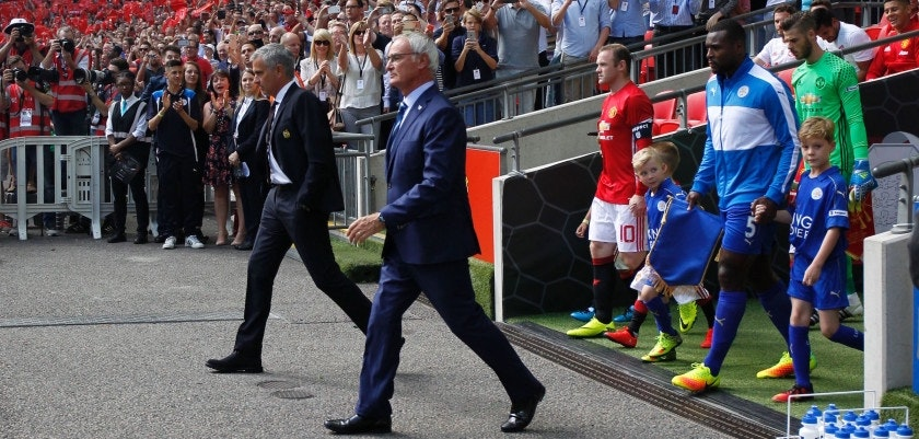 Manchester United's Portuguese manager Jose Mourinho (L) and Leicester City's Italian manager Claudio Ranieri (2L) lead out their team captain's Leicester City's English defender Wes Morgan (R) and Manchester United's English striker Wayne Rooney (2R) for the FA Community Shield football match between Manchester United and Leicester City at Wembley Stadium in London on August 7, 2016.  / AFP / Ian Kington / NOT FOR MARKETING OR ADVERTISING USE / RESTRICTED TO EDITORIAL USE        (Photo credit should read IAN KINGTON/AFP/Getty Images)