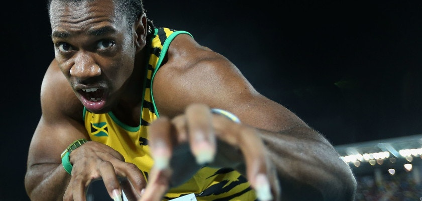 "NASSAU, BAHAMAS - MAY 24:  Yohan Blake of Jamaica poses as the ""beast"" after Jamaica set a new world record of 1:18.63 in the Men's 4x200 metres relay during day one of the IAAF World Relays at the Thomas Robinson Stadium on May 24, 2014 in Nassau, Bahamas.  (Photo by Christian Petersen/Getty Images for IAAF)"