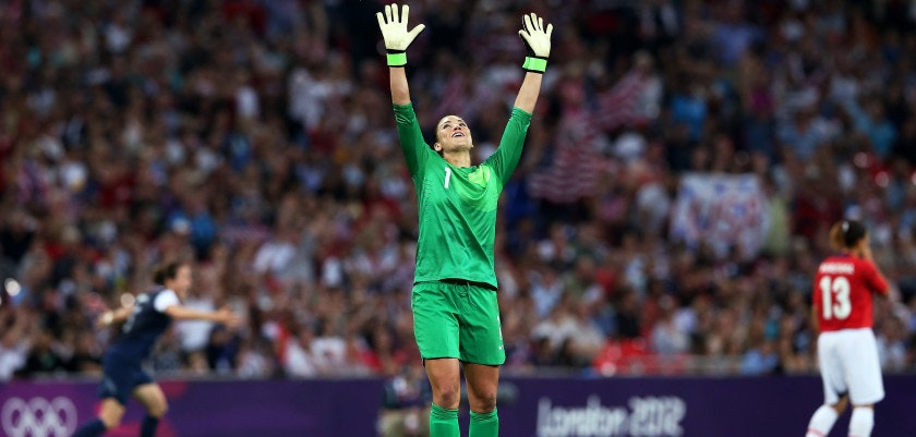 LONDON, ENGLAND - AUGUST 09: Hope Solo #1 of the United States celebrates after defeating Japan by a score of 2-1 to win the Women's Football gold medal match on Day 13 of the London 2012 Olympic Games at Wembley Stadium on August 9, 2012 in London, England.  (Photo by Ronald Martinez/Getty Images)