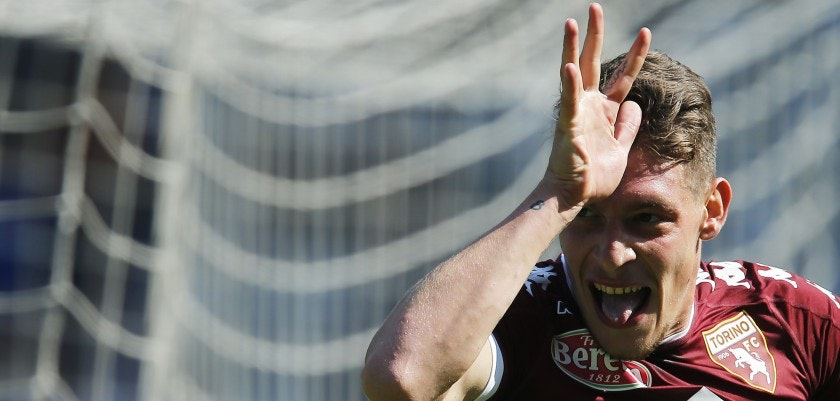 "Torino's Italian forward Andrea Belotti celebrates after scoring a goal during the Italian Serie A football match between Torino and AS Roma at the ""Grande Torino"" Stadium in Turin on September 25, 2016. / AFP / MARCO BERTORELLO        (Photo credit should read MARCO BERTORELLO/AFP/Getty Images)"
