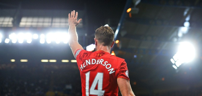 Liverpool's English midfielder Jordan Henderson waves to the fans following the English Premier League football match between Chelsea and Liverpool at Stamford Bridge in London on September 16, 2016. Liverpool won the match 2-1. / AFP / GLYN KIRK / RESTRICTED TO EDITORIAL USE. No use with unauthorized audio, video, data, fixture lists, club/league logos or 'live' services. Online in-match use limited to 75 images, no video emulation. No use in betting, games or single club/league/player publications.  /         (Photo credit should read GLYN KIRK/AFP/Getty Images)