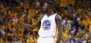OAKLAND, CA - JUNE 14:  Draymond Green #23 of the Golden State Warriors celebrates in the first quarter against the Cleveland Cavaliers during Game Five of the 2015 NBA Finals at ORACLE Arena on June 14, 2015 in Oakland, California. NOTE TO USER: User expressly acknowledges and agrees that, by downloading and or using this photograph, user is consenting to the terms and conditions of Getty Images License Agreement.  (Photo by Ezra Shaw/Getty Images)