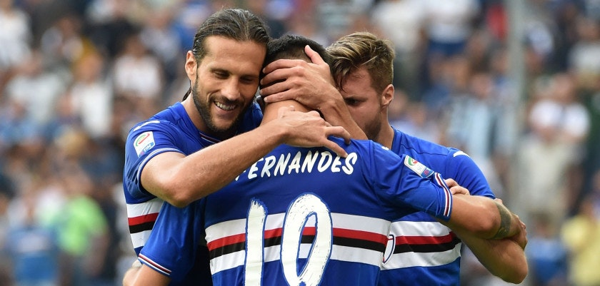 GENOA, ITALY - OCTOBER 02:  Bruno Fernandes of Sampdoria celebrates after scoring the equalizing goal during the Serie A match between UC Sampdoria and US Citta di Palermo at Stadio Luigi Ferraris on October 2, 2016 in Genoa, Italy.  (Photo by Getty Images/Getty Images)