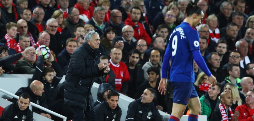 LIVERPOOL, ENGLAND - OCTOBER 17:  Jose Mourinho, Manager of Manchester United gives instructions during the Premier League match between Liverpool and Manchester United at Anfield on October 17, 2016 in Liverpool, England.  (Photo by Clive Brunskill/Getty Images)