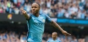 Manchester City's English midfielder Raheem Sterling celebrates after scoring the opening goal of the English Premier League football match between Manchester City and West Ham United at the Etihad Stadium in Manchester, north west England, on August 28, 2016. / AFP / JON SUPER / RESTRICTED TO EDITORIAL USE. No use with unauthorized audio, video, data, fixture lists, club/league logos or 'live' services. Online in-match use limited to 75 images, no video emulation. No use in betting, games or single club/league/player publications.  /         (Photo credit should read JON SUPER/AFP/Getty Images)