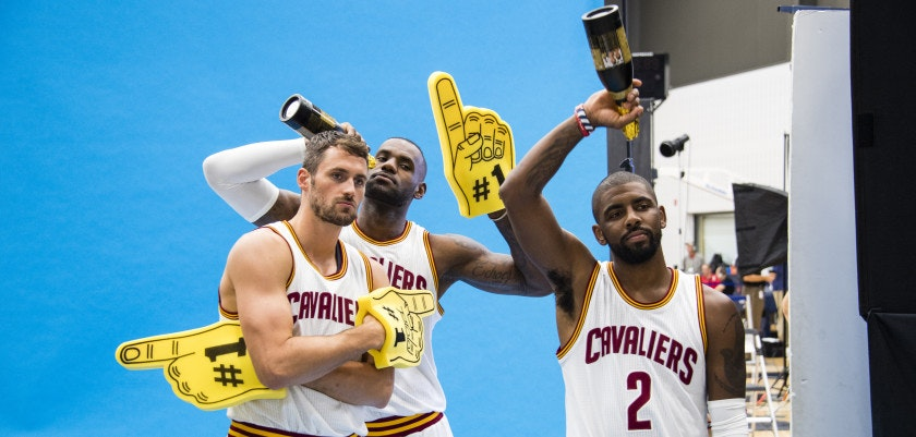 CLEVELAND, OH - SEPTEMBER 26: Kevin Love #0, LeBron James #23 and Kyrie Irving #2 during media day at Cleveland Clinic Courts on September 26, 2016 in Cleveland, Ohio. NOTE TO USER: User expressly acknowledges and agrees that, by downloading and/or using this photograph, user is consenting to the terms and conditions of the Getty Images License Agreement. Mandatory copyright notice. (Photo by Jason Miller/Getty Images)