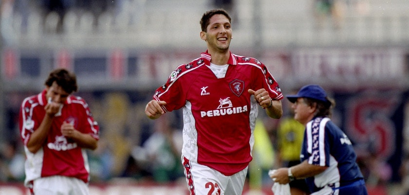 18 Sep 1999:  Marco Materazzi of Perugia celebrates his goal during the Italian Serie A match between Perugia and Cagliari played at the Stadio Renato Curi, Perugia, Italy. The game finished in a 3-0 win for Perugia.  Mandatory Credit: Claudio Villa /Allsport