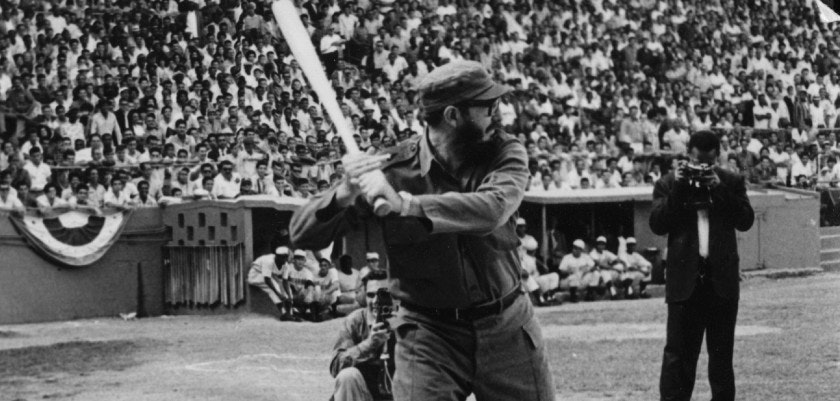 Cuban revolutionary leader Fidel Castro playing baseball.    (Photo by Keystone/Getty Images)
