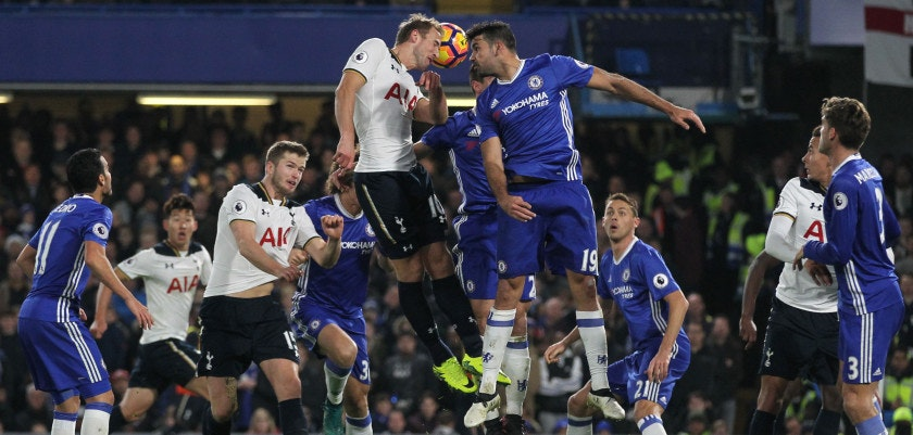 Tottenham Hotspur's English striker Harry Kane (CL) and Chelsea's Brazilian-born Spanish striker Diego Costa (CR) go up for a header during the English Premier League football match between Chelsea and Tottenham Hotspur at Stamford Bridge in London on November 26, 2016. / AFP / Ian KINGTON / RESTRICTED TO EDITORIAL USE. No use with unauthorized audio, video, data, fixture lists, club/league logos or 'live' services. Online in-match use limited to 75 images, no video emulation. No use in betting, games or single club/league/player publications.  /         (Photo credit should read IAN KINGTON/AFP/Getty Images)
