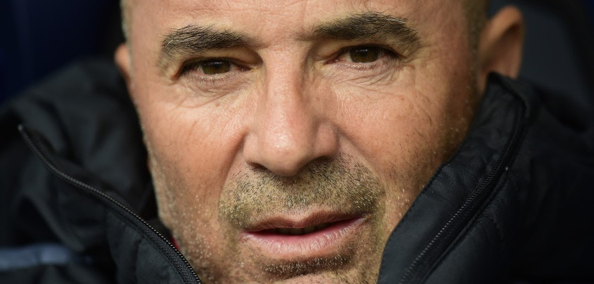 Sevilla's Argentinian coach Jorge Sampaoli looks at the camera on the bench during the Spanish league football match between RC Deportivo de la Coruna and Sevilla FC at the Municipal de Riazor stadium in La Coruna, on November 19, 2016. / AFP / MIGUEL RIOPA        (Photo credit should read MIGUEL RIOPA/AFP/Getty Images)