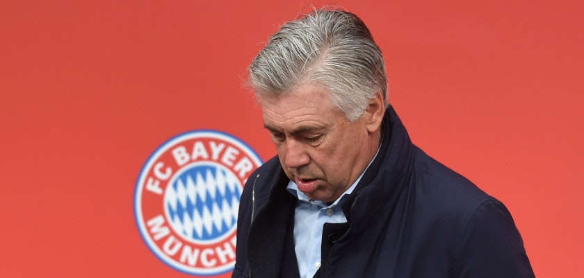 Bayern Munich's Italian headcoach Carlo Ancelotti attends the official reopening of the new Bayern Munich fan shop at the Franz-Josef-Strauss airport in Munich, southern Germany, on November 6, 2016.  / AFP / CHRISTOF STACHE        (Photo credit should read CHRISTOF STACHE/AFP/Getty Images)