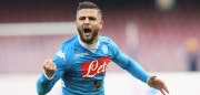 NAPLES, ITALY - JANUARY 31:  Lorenzo Insigne of Napoli celebrates after scoring his team's second goal during the Serie A match between SSC Napoli and Empoli FC at Stadio San Paolo on January 31, 2016 in Naples, Italy.  (Photo by Maurizio Lagana/Getty Images)