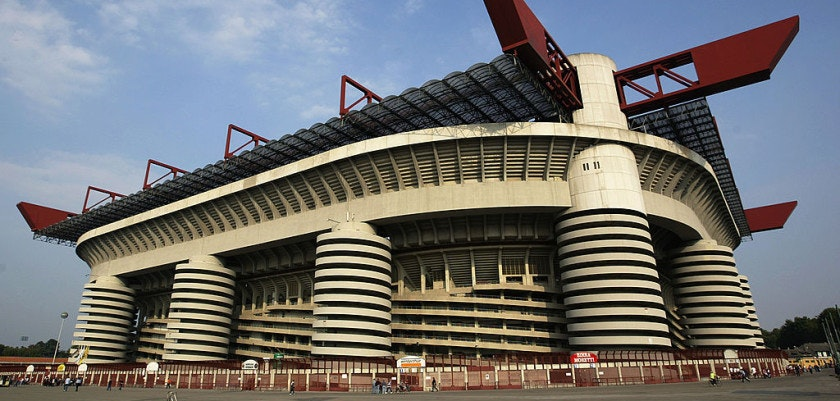 MILAN - SEPTEMBER 18:  Outside the San Siro Stadium before the UEFA Champions League match between AC Milan and RC Lens held at the Giuseppe Meazza, San Siro Stadium in Milan on September 18, 2002 (Photo by Gary M Prior/Getty Images) AC Milan won the match 2-1.