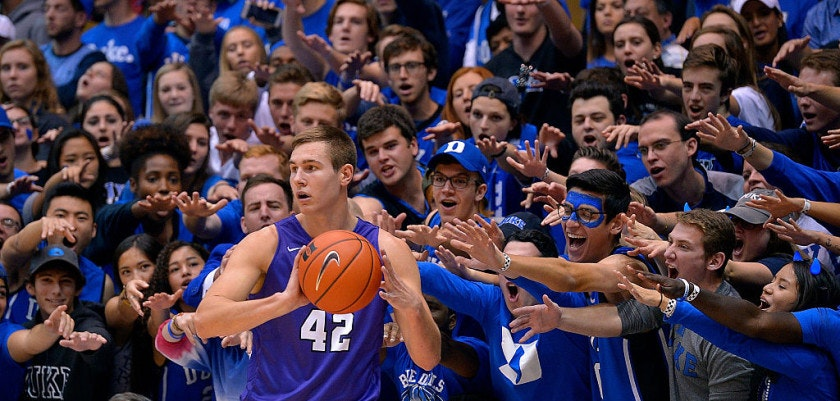 DURHAM, NC - NOVEMBER 12:  The Cameron Crazies taunt Gerard Martin #42 of the Grand Canyon Antelopes as he inbounds the ball against the Duke Blue Devils during the game at Cameron Indoor Stadium on November 12, 2016 in Durham, North Carolina.  (Photo by Grant Halverson/Getty Images)