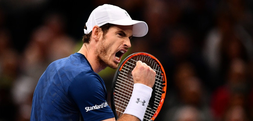 PARIS, FRANCE - NOVEMBER 06:  Andy Murray of Great Britain reacts during the Mens Singles Final against John Isner of the United States on day seven of the BNP Paribas Masters at Palais Omnisports de Bercy on November 6, 2016 in Paris, France. (Photo by Dan Mullan/Getty Images)