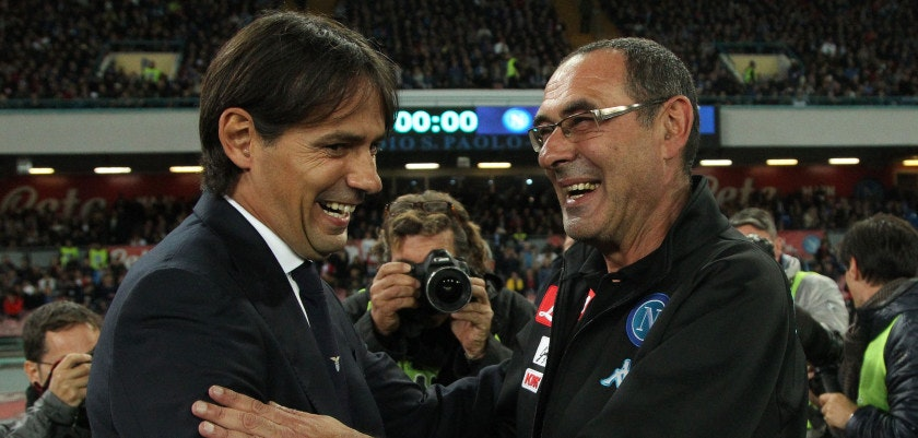 Lazio's coach from Italy Simone Inzaghi (L) greets Napoli's coach from Italy Maurizo Sarri during the Italian Serie A football match SSC Napoli vs SS Lazio on November 5, 2016, at the San Paolo Stadium in Naples. / AFP / CARLO HERMANN        (Photo credit should read CARLO HERMANN/AFP/Getty Images)