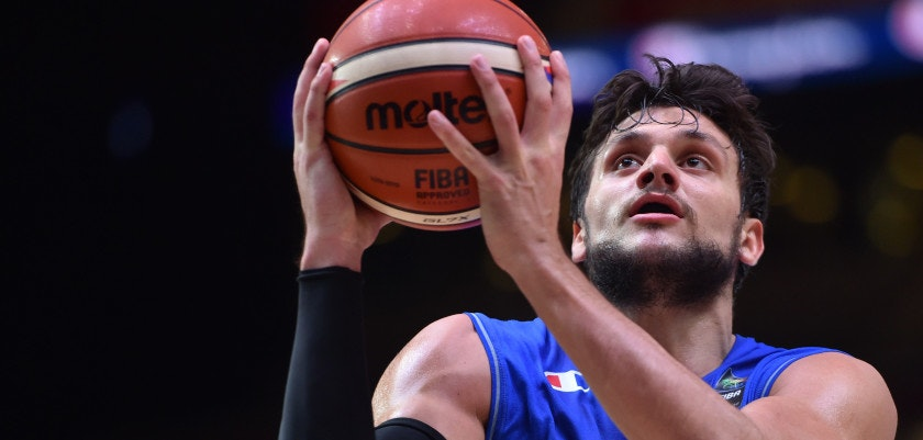 Italy's small forward Alessandro Gentile goes to the basket during the classification basketball match between the Czech Republic and Italy at the EuroBasket 2015 in Lille, northern France, on September 17, 2015.  AFP PHOTO / PHILIPPE HUGUEN        (Photo credit should read PHILIPPE HUGUEN/AFP/Getty Images)