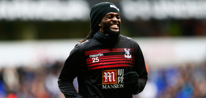 LONDON, ENGLAND - FEBRUARY 21:  Emmanuel Adebayor of Crystal Palace warms up prior to the Emirates FA Cup Fifth Round match between Tottenham Hotspur and Crystal Palace at White Hart Lane on February 21, 2016 in London, England.  (Photo by Julian Finney/Getty Images)