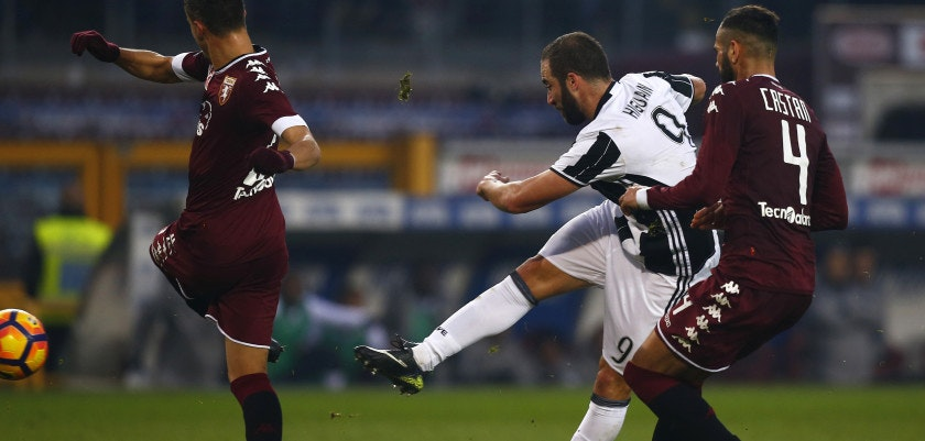 Juventus' forward Gonzalo Higuain from Argentina  scores during the Italian Serie A football match Torino Vs Juventus on December 11, 2016 at the Grande Torino Stadium in Turin.   / AFP / MARCO BERTORELLO        (Photo credit should read MARCO BERTORELLO/AFP/Getty Images)