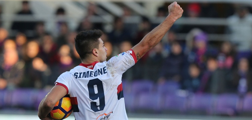 FLORENCE, ITALY - JANUARY 29: Giovanni Simeone of Genoa CFC celebrates after scoring a goal during the Serie A match between ACF Fiorentina and Genoa CFC at Stadio Artemio Franchi on January 29, 2017 in Florence, Italy.  (Photo by Gabriele Maltinti/Getty Images)