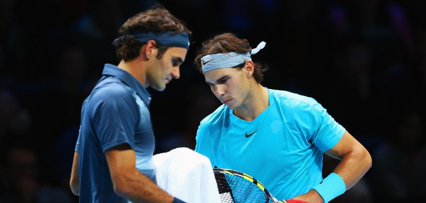 LONDON, ENGLAND - NOVEMBER 10:  Rafael Nadal of Spain and Roger Federer of Switzerland changeover during their men's singles semi-final match on day seven of the Barclays ATP World Tour Finals at O2 Arena on November 10, 2013 in London, England.  (Photo by Julian Finney/Getty Images)