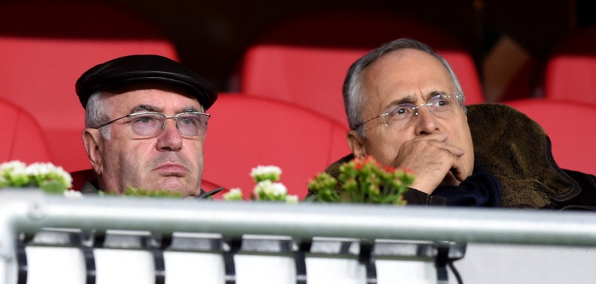 OSLO, NORWAY - SEPTEMBER 09:  President FIGC Carlo Tavecchio (L) and Claudio Lotito prior to the UEFA EURO 2016 qualifier between Norway and Italy at Ullevaal Stadion on September 9, 2014 in Oslo, Norway.  (Photo by Claudio Villa/Getty Images)
