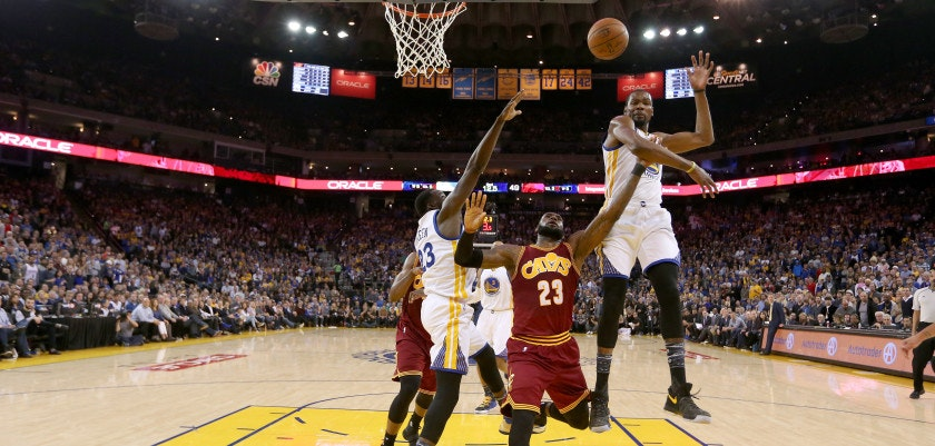OAKLAND, CA - JANUARY 16:  LeBron James #23 of the Cleveland Cavaliers has a shot blocked by Kevin Durant #35 of the Golden State Warriors at ORACLE Arena on January 16, 2017 in Oakland, California. NOTE TO USER: User expressly acknowledges and agrees that, by downloading and or using this photograph, User is consenting to the terms and conditions of the Getty Images License Agreement.  (Photo by Ezra Shaw/Getty Images)