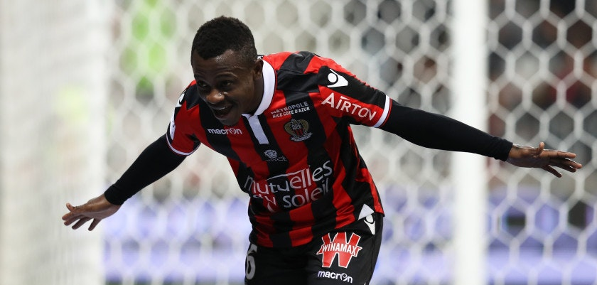 "Nice's Ivorian midfielder Jean Michael Seri celebrates after scoring a goalduring the French L1 football match Nice (OGCN) vs Toulouse (TFC) on December 4, 2016 at the ""Allianz Riviera"" stadium in Nice, southeastern France.  / AFP / VALERY HACHE        (Photo credit should read VALERY HACHE/AFP/Getty Images)"