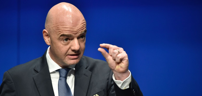 International Federation of Association Football (FIFA) President Gianni Infantino gestures while speaking during a press briefing closing a meeting of the FIFA executive council on January 10, 2017 at FIFA headquarters in Zurich.  FIFA's ruling council on January 10, 2017 unanimously approved an expansion of the World Cup from 32 to 48 teams in 2026.  / AFP / Michael BUHOLZER        (Photo credit should read MICHAEL BUHOLZER/AFP/Getty Images)