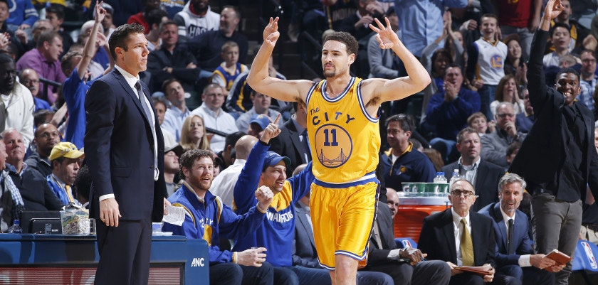 INDIANAPOLIS, IN - DECEMBER 8: Klay Thompson #11 of the Golden State Warriors reacts after making a three-point basket against the Indiana Pacers in the first half of the game at Bankers Life Fieldhouse on December 8, 2015 in Indianapolis, Indiana. NOTE TO USER: User expressly acknowledges and agrees that, by downloading and or using the photograph, User is consenting to the terms and conditions of the Getty Images License Agreement. (Photo by Joe Robbins/Getty Images)