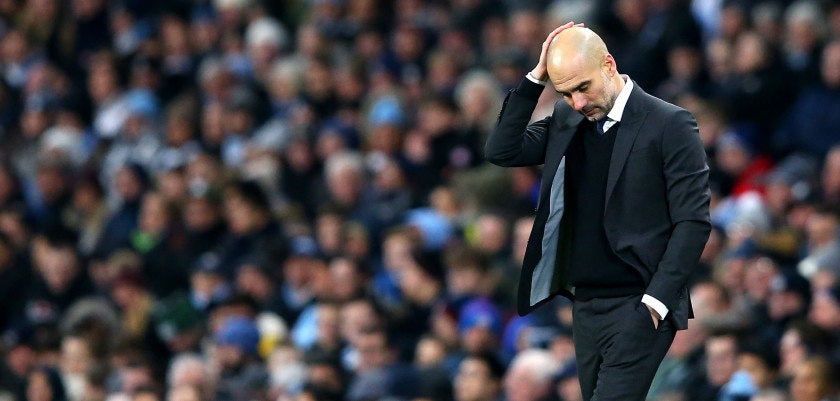 MANCHESTER, ENGLAND - JANUARY 21: Josep Guardiola, Manager of Manchester City look dejected on the sidelines during the Premier League match between Manchester City and Tottenham Hotspur at the Etihad Stadium on January 21, 2017 in Manchester, England.  (Photo by Alex Livesey/Getty Images)