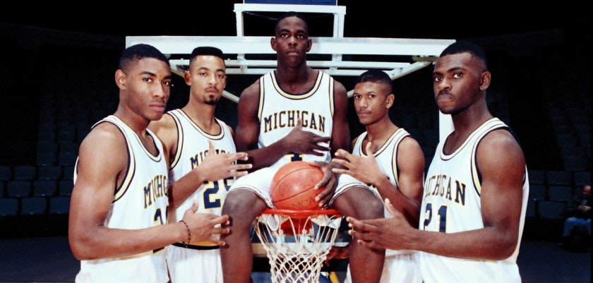 ORG XMIT: DT101 FILE - In this file photo taken November 1991, Michigan's Fab Five from left, Jimmy King, Juwan Howard, Chris Webber, Jalen Rose and Ray Jackson pose in Ann Arbor, Mich. Former college basketball star and ex-NBA player Jalen Rose said an upcoming ESPN film will be an in-depth look at the University of Michigan's Fab 5. (AP Photo/file)